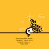 Vector banner with a picture tools chainsaw. Vector banner with a picture of black flat line symbol construction tools chainsaw  on yellow  background Royalty Free Stock Photo