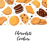 Vector background with lettering and with cartoon cookies stock illustration