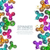 Vector banner or poster background with watercolor fidget hand spinners. Spinner anti stress toy on white background. Royalty Free Stock Photos