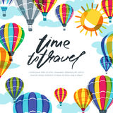 Vector banner, poster or flyer design template with hot air balloons and calligraphy lettering. Hand drawn illustration. Royalty Free Stock Photos