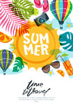 Vector banner, poster or flyer design template with sun, palm leaves and air balloons. Summer beach doodle illustration. Concept for summer holidays, travel Royalty Free Stock Photo