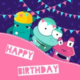 Vector happy birthday illustration with cute cartoon monsters and garlands with place for text Stock Photography