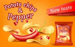 Vector banner with potato chips and chili pepper royalty free illustration