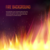 Vector banner with realistic fire. Vector banner with fire. Fiery banner design template. Realistic bright blazing campfire effect. Flaming bonfire illustration Stock Images