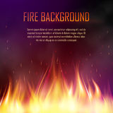 Vector banner with realistic fire. Vector banner with fire. Fiery banner design template. Realistic bright blazing campfire effect. Flaming bonfire illustration Stock Photos