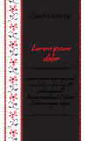 Vector banner with red and black embroidered with black background Stock Photo