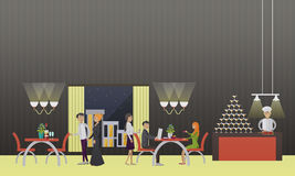 Vector banner with restaurant interior. People having dinner in cafe Royalty Free Stock Images
