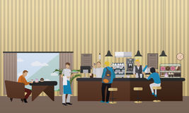Vector banner with restaurant interior. People having lunch in cafe and bar Royalty Free Stock Image