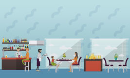 Vector banner with restaurant interior. People having lunch in cafe and bar.  Royalty Free Stock Photography