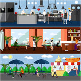 Vector banner with restaurant interiors. Kitchen, dining room and street cafe. Illustration in flat design. Vector banner with restaurant interiors. Kitchen Stock Image