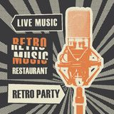 Menu for retro music restaurant with microphone stock illustration