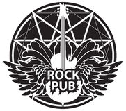 Vector banner for rock pub with guitar and wings. Vector banner for rock pub with an acoustic guitar and wings on the background of star Stock Photos