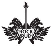 Vector banner for rock pub with guitar and wings. Vector illustration with an electric guitar, wings and feathers with words rock pub Stock Photo