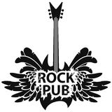 Vector banner for rock pub with guitar and wings. Vector illustration with an electric guitar, wings and feathers with words rock pub Royalty Free Stock Photo