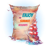 Vector banner with sail ship in ocean Stock Photo