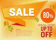 Vector banner sale special offer for Autumn leaves abstract background.  Stock Photo