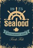 Banner for seafood restaurant with wheel and fish. Vector banner for seafood restaurant with a ship helm, fish, wave and inscription Fresh fish on the dark Royalty Free Stock Photo