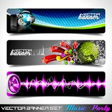 Vector banner set on a Music and Party theme. Stock Image