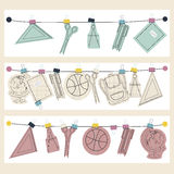 Vector banner set of school supplies, back to school concept. Royalty Free Stock Image