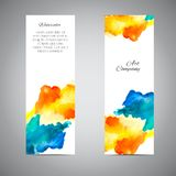 Vector Banner Set Watercolor. Vector banners set. Vector colorful label. Template business card. Company name card. Vector watercolor banner. Handmade trendy Vector Illustration