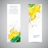 Vector Banner Set Watercolor. Banners set. Vector colorful label. Template business card. Company name card. Vector vintage banner. Handmade trendy card. Yellow Royalty Free Illustration