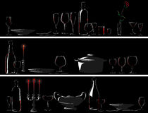 Vector banner of setout (dinner by candlelight). Horizontal vector banner: silhouettes set table with serving utensils (dinner by candlelight Royalty Free Stock Photos