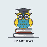 Vector banner with smart owl. Stock Photography