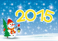 Vector banner. Snowman. Stock Images
