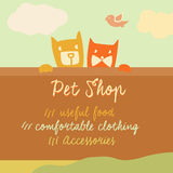 Vector banner with space for text. Pets. Cartoon Royalty Free Stock Photo