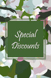 Vector banner special discounts on a floral background. Apple bl Royalty Free Stock Image