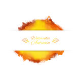 Vector banner with splash of watercolor in autumn colors Royalty Free Stock Image