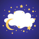Vector banner with stars, cloud shape moon and place for text Royalty Free Stock Photography