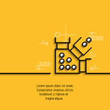 Vector banner steel structure, metal construction. Vector banner with a picture of black flat line symbol steel structure, metal construction on yellow Stock Photo