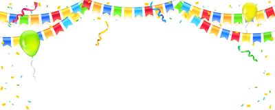 Vector banner with streamers, confetti and garlands of multi colored hanging flags. White background for birthday stock illustration