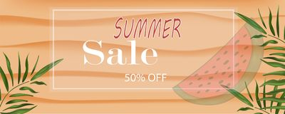 Vector banner summer discount in white frame on the beach in the. Sand with text branches of palm trees and slices of watermelon for poster stores of sale, eps stock illustration