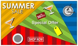 Vector banner Summer sale with glass and plate, symbol, element design. EPS file available. see more images related vector illustration