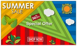 Vector banner Summer sale with sun,leaf, and cloud, symbol, element design. EPS file available. see more images related vector illustration