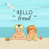 Vector banner summer sea beach vacation with the inscription. Day friends. Smiling kids boy and girl  lying on sea shore Royalty Free Stock Image