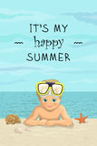 Vector banner summer sea beach vacation with the inscription. Smiling happy boy lying on sea shore, seashells and starfish Stock Photos
