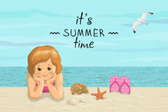 Vector banner summer sea beach vacation with the inscription. Smiling kids girl lying on sea shore, flip flop, seashells and gull Stock Photo