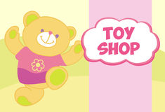 Vector banner with a teddy bear. Template for Royalty Free Stock Photos