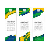 Vector banner template with colored lines and waves. vector eps1. Vector banner template with colored lines and waves. Three colors concept of Brazil flag Stock Photography