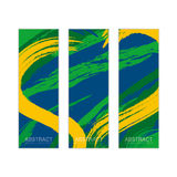 Vector banner template with colored lines and waves. vector eps1. Vector banner template with colored lines and waves. Three colors concept of Brazil flag Stock Photos