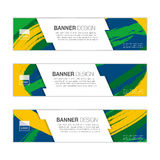 Vector banner template with colored lines and waves. vector eps1. Vector banner template with colored lines and waves. Three colors concept of Brazil flag stock illustration
