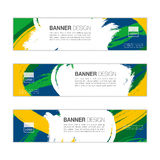 Vector banner template with colored lines and waves. vector eps1. Vector banner template with colored lines and waves. Three colors concept of Brazil flag royalty free illustration