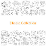 Vector banner template with different types of cheese, hand drawn illustration. Royalty Free Stock Images