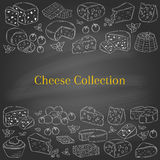 Vector banner template with different types of cheese, hand drawn illustration. Royalty Free Stock Photos