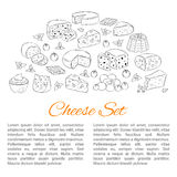 Vector banner template with different types of cheese, hand drawn illustration. Stock Photos