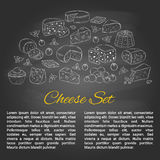 Vector banner template with different types of cheese, hand drawn illustration. Royalty Free Stock Photography