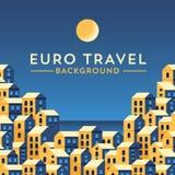 Vector banner template with european landscape. Stock Photos